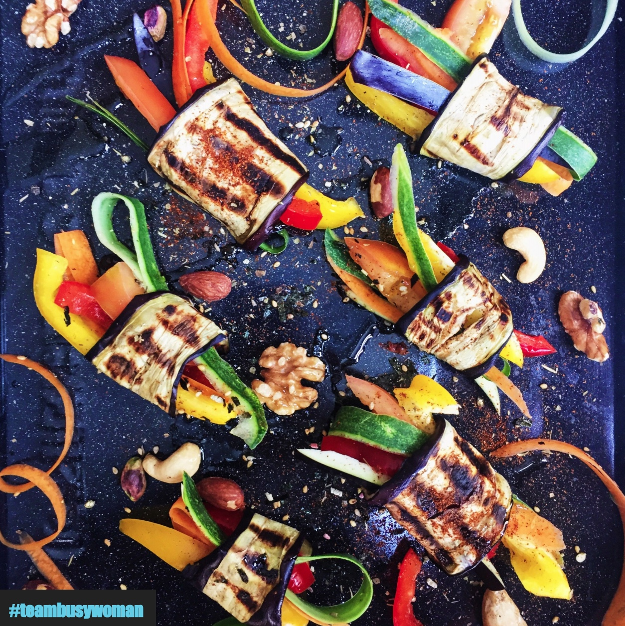 Super Easy & Healthy Recipes for Busy Women:  AUBERGINE RAINBOW ROLLS